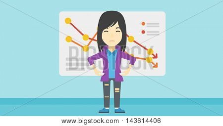 An asian young business woman showing her epmty pockets on the background of a board with decreasing chart. Bankruptcy concept. Vector flat design illustration. Horizontal layout.