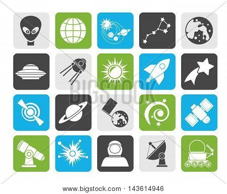 Silhouette astronomy and space icons  - vector icon set