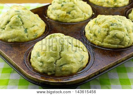 Spinach and feta cheese muffins close up in muffin pan with focus on front muffin
