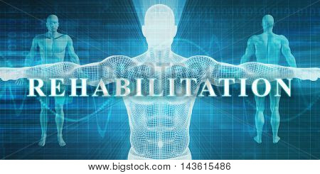 Rehabilitation as a Medical Specialty Field or Department 3D Illustration Render