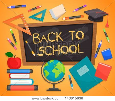 Back to school creative background. Concept icons of education and learning. Knowledge sign. School chalkboard. Back to school concept. School supplies.