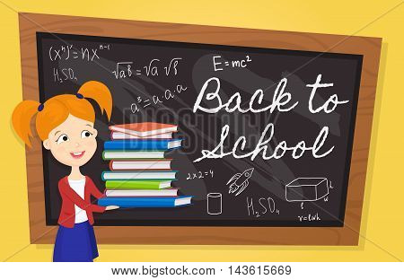 Back to school background cartoon vector illustration. Back to school concept. School girl with textbooks. Elementary school. Classroom interior. Back to school lettering on school chalkboard.