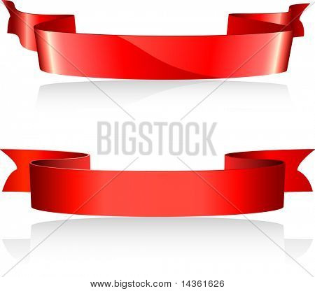 Two red banners. Vector illustration.