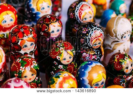 Beautiful Colorful Russian Nesting Dolls Matreshka At Market. Matrioshka Is Folks Cultural Symbol Of Russia. Wooden Doll Matryoshka