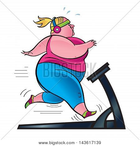 Woman exercising on treadmill, overweight runner in the gym