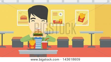 An asian young man eating hamburger. Happy man with eyes closed biting hamburger. Man is about to eat delicious hamburger in the cafe. Vector flat design illustration. Horizontal layout.