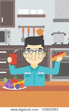 An asian man eating fast food. Man holding fast food in hands in the kitchen. Man choosing between fast food and healthy food. Vector flat design illustration. Vertical layout.