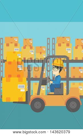 An asian warehouse worker loading cardboard boxes. Forklift driver at work in storehouse. Warehouse worker driving forklift at warehouse. Vector flat design illustration. Vertical layout.