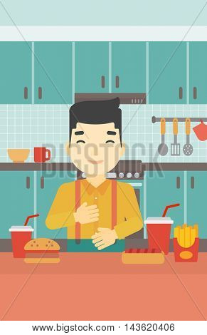 Smiling man with eyes closed touching his tummy. Satisfied man had the best ingestion. Man standing in front of table with fast food in the kitchen. Vector flat design illustration. Vertical layout.