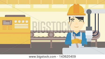 An asian man working on industrial drilling machine. Man using drilling machine at manufactory. Metalworker drilling at workplace. Vector flat design illustration. Horizontal layout.