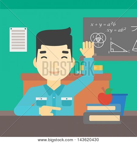 An asian young student raising hand in the classroom for an answer. Student sitting at the table with raised hand. Vector flat design illustration. Square layout.