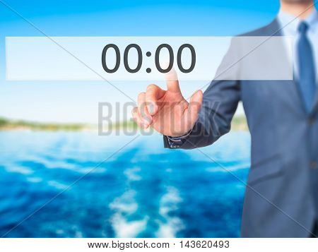 00:00 - Businessman Hand Pressing Button On Touch Screen Interface.