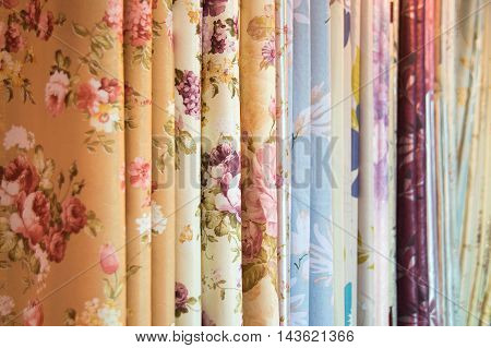 Flowers pattern fabric fold for decoration texture background