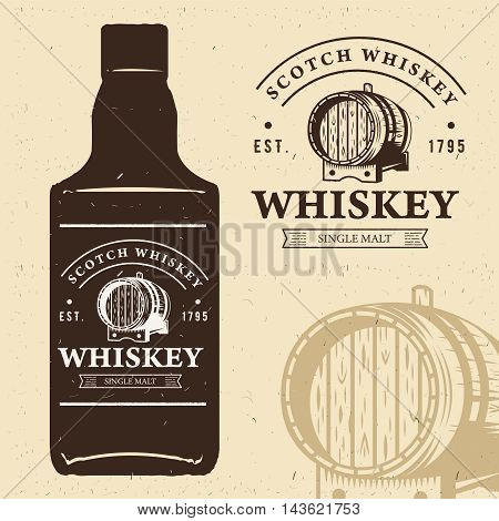 typography monochrome vintage label with bottle silhouette. Scotch whiskey logo. Oak whiskey barrel illustration. Retro style design