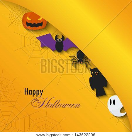 Happy Halloween background.Vector Flat Illustration. Halloween Signs and Symbols. Trick or Treat
