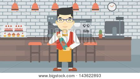 An asian young waiter holding a bottle in hands on the background of a cafe. Vector flat design illustration. Horizontal layout.