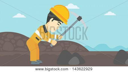 An asian miner  working with a pickaxe. Mine worker in hard hat. Miner at the coal mine. Vector flat design illustration. Horizontal layout.