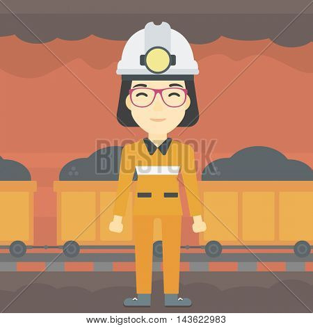 An asian confident coal miner. A female miner in hardhat with torch. Miner standing on the background of mining tunnel with cart full of coal. Vector flat design illustration. Square layout.