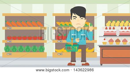 An asian young man holding basket full of healthy food and refusing junk food. Man rejecting junk food in supermarket. Man choosing healthy food. Vector flat design illustration. Horizontal layout.