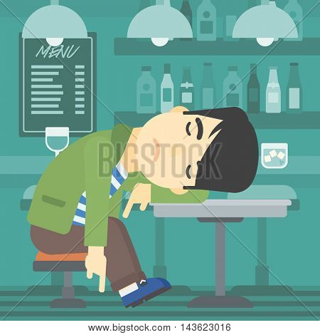 An asian drunk man deeply sleeping near the bottle of wine and glass on table. Drunk man sleeping in bar. Alcohol addiction concept. Vector flat design illustration. Square layout.