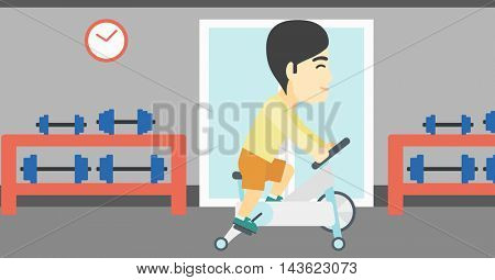 An asian young man riding stationary bicycle. Sporty man exercising on stationary training bicycle in the gym. Man training on exercise bike. Vector flat design illustration. Horizontal layout