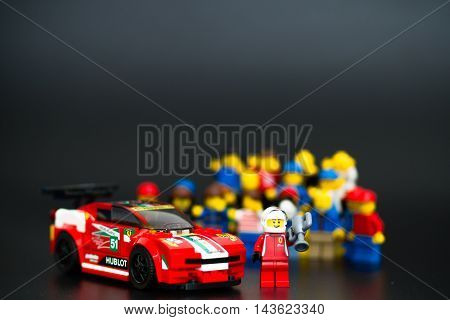 Orvieto Italy - January 17th 2015: . Lego minifigure driver of Ferrari racing car. Lego is a popular line of construction toys manufactured by the Lego Group