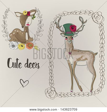two cute deers with doodle frames and flowers