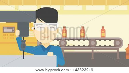 An asian man working on a milling machine at workshop. Man using milling machine at factory. Man making a hole using a milling machine. Vector flat design illustration. Horizontal layout.