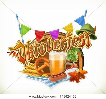 Munich Beer Festival Oktoberfest, the vector can also be used by any beer manufacturers. Barrel, pretzel, beverage, hop, grain, sausage, hat