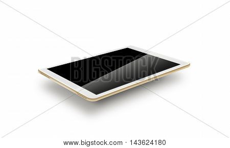 Mockup gold tablet realistic style 3d illustration. Isolated on white background. Nice tab mock up for the web design presentation. Pda laptop gadget computer blank hd lcd touch screen portable electronic monitor.