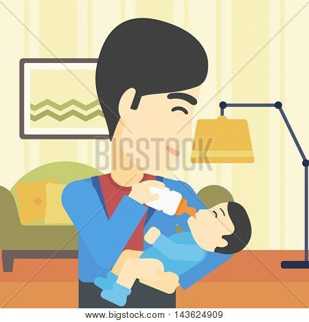 An asian father feeding baby with a milk bottle. Father feeding newborn baby at home. Baby boy drinking milk from bottle. Vector flat design illustration. Square layout.