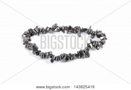 Splintered Hematite Chain On White Background