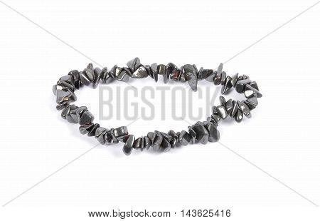 Splintered Hematite Chain On White Background