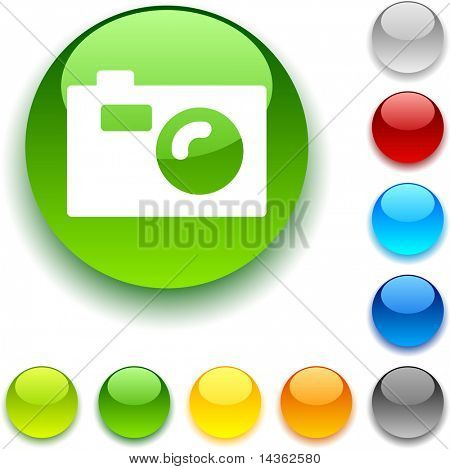 Photo shiny button. Vector illustration.
