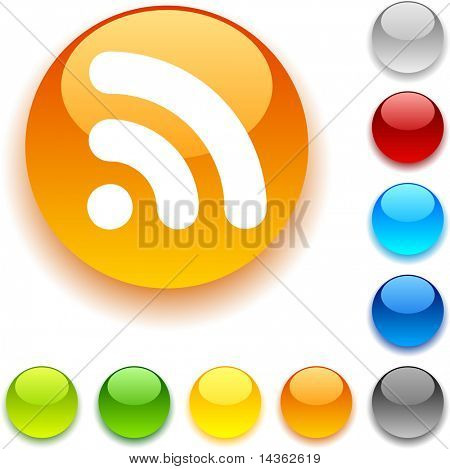 Rss  shiny button. Vector illustration.