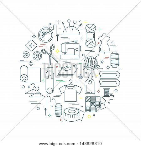 Sewing abstract concept vector illustration line style