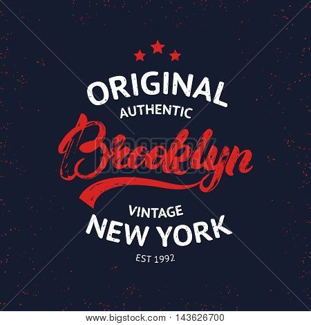 Vintage Brooklyn label. Quality tee print. Brooklyn hand written lettering calligraphy. Vector illustration.