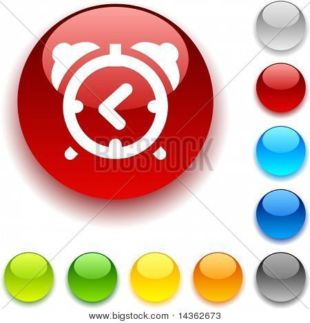 alarm-clock  shiny button. Vector illustration.