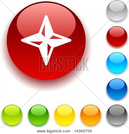 Compass shiny button. Vector illustration.