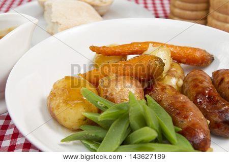 Sausage casserole  A traditional British meal of a sausage casserole