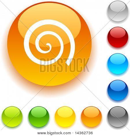 Swirl shiny button. Vector illustration.