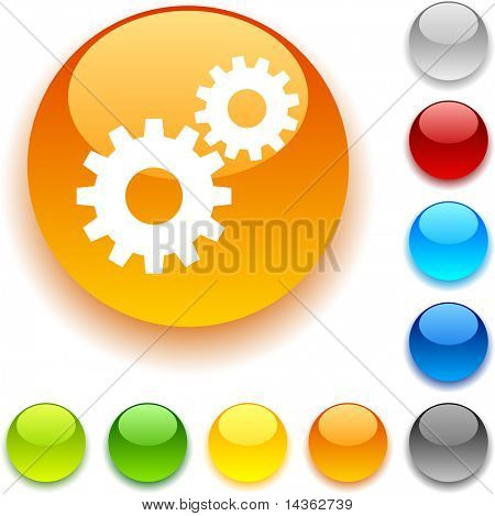Settings shiny button. Vector illustration.