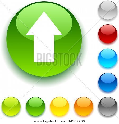 Upload shiny button. Vector illustration.