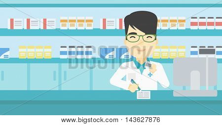 An asian young male pharmacist writing on clipboard and holding prescription in hand. Pharmacist in medical gown standing at pharmacy counter. Vector flat design illustration. Horizontal layout.