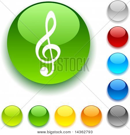 Clef shiny button. Vector illustration.