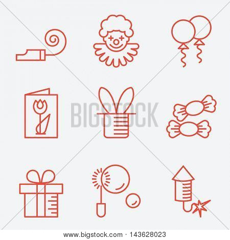 Party icons, thin line style, flat design
