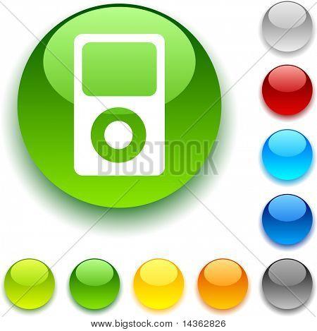 Media shiny button. Vector illustration.