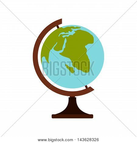 Terrestrial globe icon in flat style on a white background