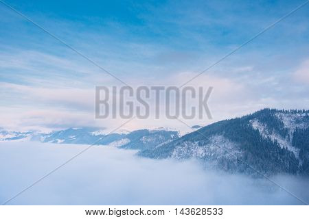 Beautiful Winter Landscape With Snow In Carpathian Mountains
