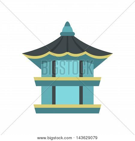 Hyangwonjeong hexagonal pavilion in Gyeongbokgung Palace, South Korea icon in flat style on a white background